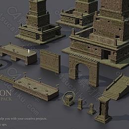 C4素材网-丢失的文明遗迹建筑 3D 包概念艺术模型