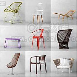 C4素材库-40套现代简约风椅子家具C4D模型