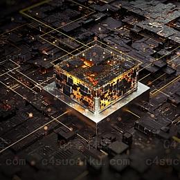Octane渲染器科幻芯片场景工程
