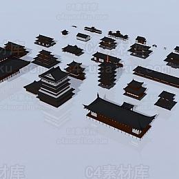 幕府时代日本宝塔寺庙等东方哲学亭子中国风建筑场景3D模型