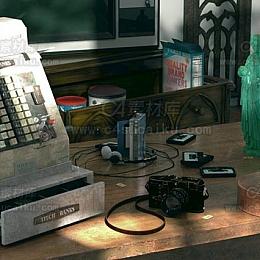 Octane渲染器写实桌面收银机小提琴相机随身听老电视场景工程