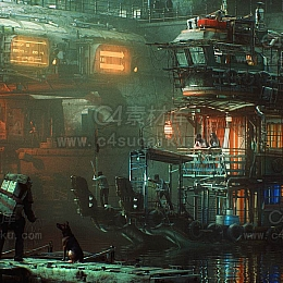 科幻赛博朋克船白模场景