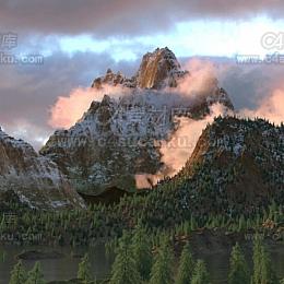 octane 森林雪山自然风光场景工程