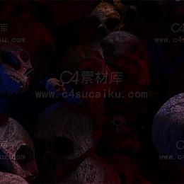 Octane渲染器骷髅头恐怖场景