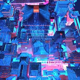 Octane渲染器霓虹效果城市群