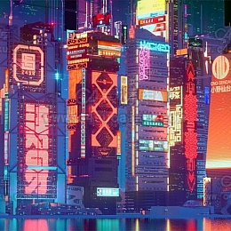 Octane渲染器赛博朋克霓虹城市工程源文件