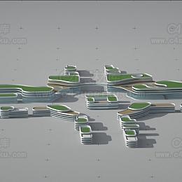 现代简约楼房模型-2