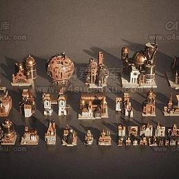 蒸汽朋克复古建筑城堡城市场景3D模型