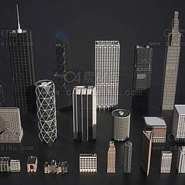 摩天大楼建筑物城市街道楼房3D模型