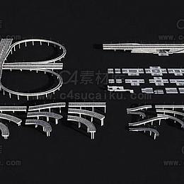 高架桥高速公路立交桥交通设备建筑包模型
