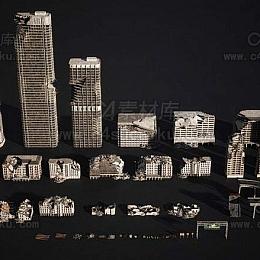 城市景观大都市废墟场景3D模型