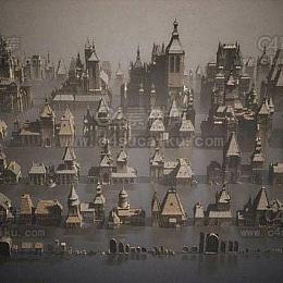 黑暗城堡建筑楼房3D模型