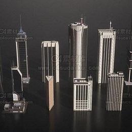 C4素材库-现代高楼大厦3D模型