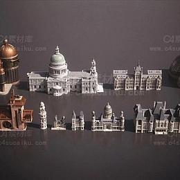 C4素材库-蒸汽朋克皇室贵族颓废城市史诗宏伟建筑包