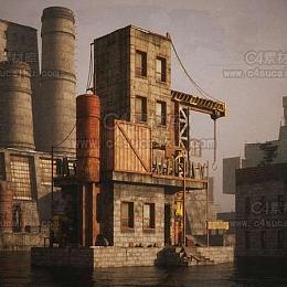 C4素材库-荒芜之地废墟工厂场景3D模型
