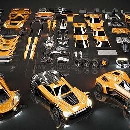 C4素材库-超级跑车 概念3d模型