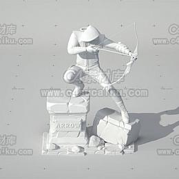 C4素材库-拿弓射箭刺客人物模型