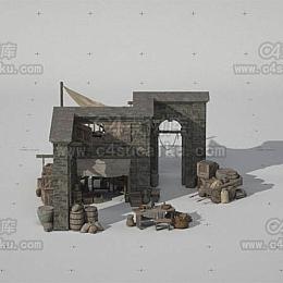 C4素材库-欧洲中世纪街道场景-2