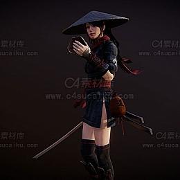 C4素材库-古风武侠剑士女人模型