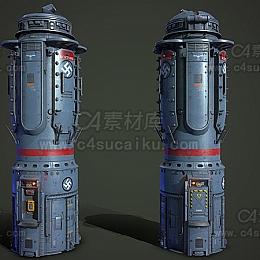C4素材库-机械罐子模型