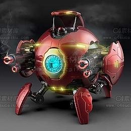 C4素材库-科幻小球机械模型