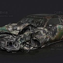 C4素材库-破损废墟汽车C4D模型