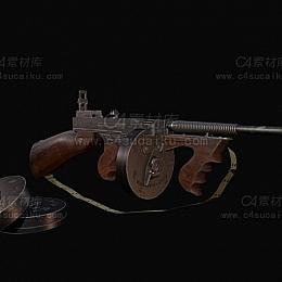 C4素材库-汤姆逊冲锋枪C4D模型