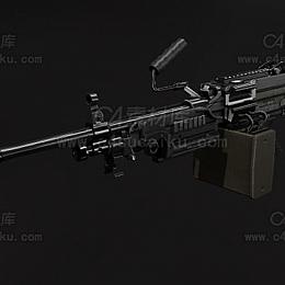 C4素材库-M249机枪C4D模型