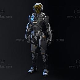C4素材库-科幻机械人物C4D模型04