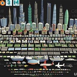 C4素材库-卡通城市建筑交通C4D模型