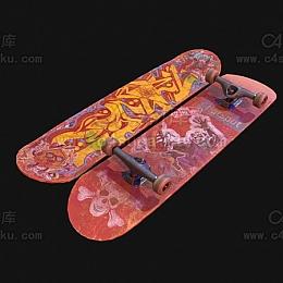 C4素材库-滑板C4D模型