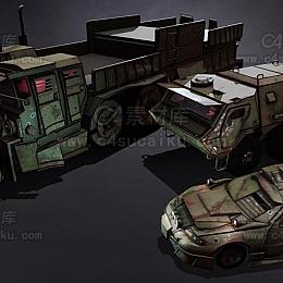 C4素材库-军用汽车C4D模型