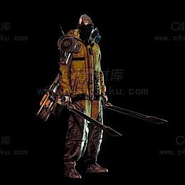 C4素材库-战地拿剑科幻刺客C4D模型