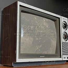 C4素材库-老式电视机C4D模型-2