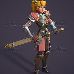C4素材库-公主人物角色C4D模型