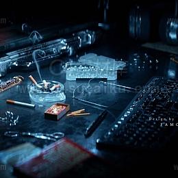 【二更小分队】-C4D暗黑桌面摆放C4D工程_byFamous