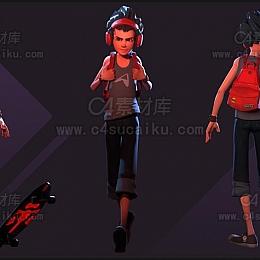 C4素材库-滑板男孩C4D模型-3