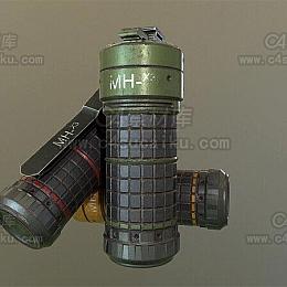 C4素材库-手榴弹手雷C4D模型