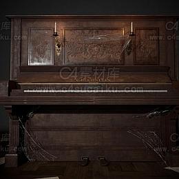 C4素材网-木质钢琴C4D模型