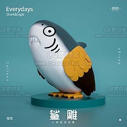 C4素材网-鲨雕C4D工程by极简