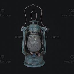 C4素材网-老式油灯C4D模型