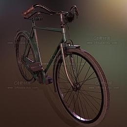 C4素材网-老式自行车C4D模型