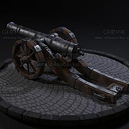 C4素材网-炮台C4D模型