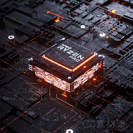 C4素材网-Redshift芯片场景渲染C4D工程by忆凌