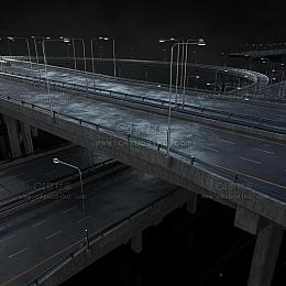 C4素材网-高速公路广告指示牌C4D模型