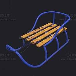 C4素材网-雪橇C4D模型