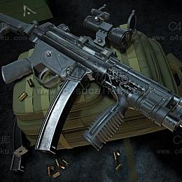 C4素材网-um95冲锋枪C4D模型