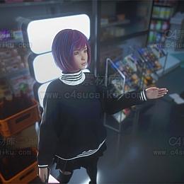 C4素材网-少女便利店夜景