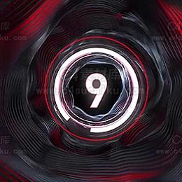 C4素材网-数字九倒计时动态背景C4D场景