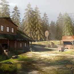 C4素材网-西部森林C4D场景